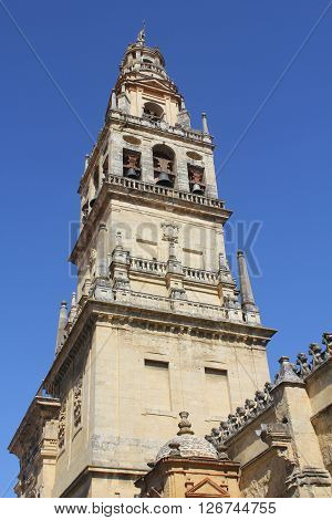 Current christian bell and former arab minaret of the mosque in Córdoba - Spain.