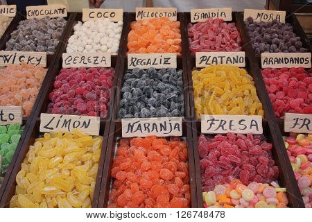 Exhibitor natural colored jelly beans with different flavors.