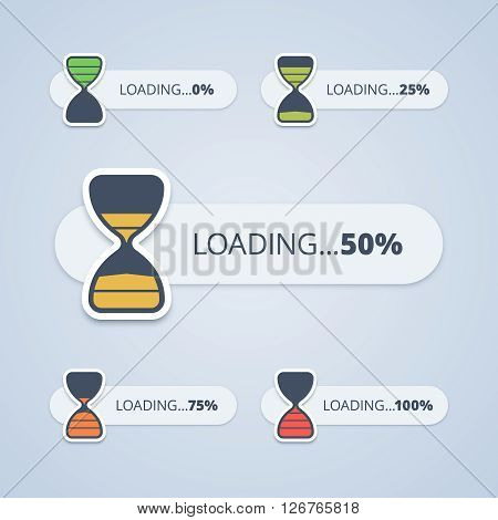 Set of sand clock progress bars. From 0 to 100 percents. Vector illustration in flat style.