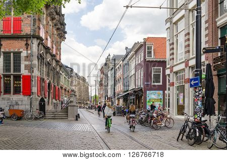 The Hague Netherlands - May 8 2015: People on venestraat shopping street in The Hague Netherlands. on May 8 2015. The Hague is the capital city of the province of South Netherlands. With a population of 515880 inhabitants.