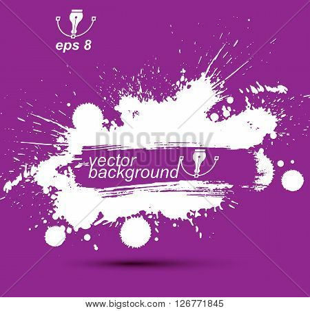 Purple modern vector acrylic blob seamless pattern painted with ink brush muddled background with shapes expressive graphic illustration.