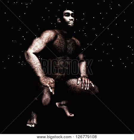 3D Illustration Of A Homo Erectus