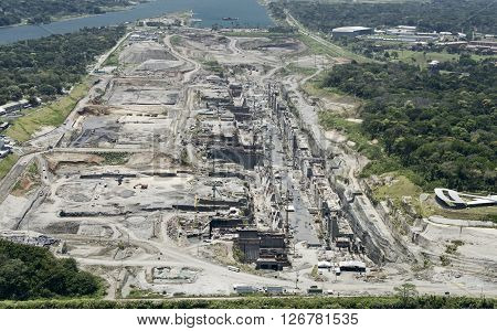 Aerial view of the Third Set of Locks construction site, Panama Canal, Panama