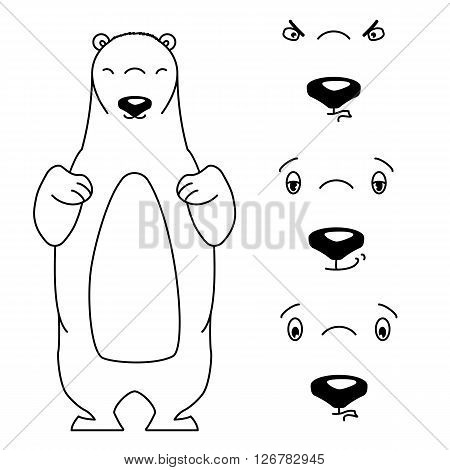 Polar bear with different facial expressions. Black and white vector illustration isolated on white. Cute cartoon style animal is smiling and frowning. Content, aloof and angry expression