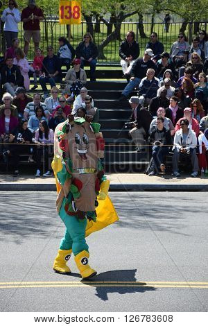 WASHINGTON, DC - APR 16: Character at the 2016 National Cherry Blossom Parade in Washington DC, as seen on April 16, 2016. Thousands of visitors gathered to attend this annual event.