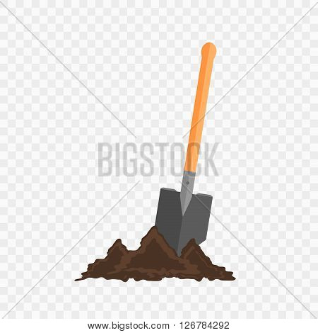Sapper shovel in the ground. Gardening tool on checked background. Isolated shovel in heap of soil