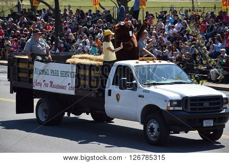 WASHINGTON, DC - APR 16: Vehicle at the 2016 National Cherry Blossom Parade in Washington DC, as seen on April 16, 2016. Thousands of visitors gathered to attend this annual event.