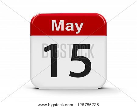 Calendar web button - The Fifteenth of May - International Day of Families and The International Conscientious Objectors' Day three-dimensional rendering 3D illustration