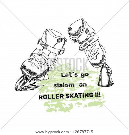 Vector illustration of set for Roller Skates with text. Isolated logo  hand drawn elements for logo. Let is go slalom on roller skating