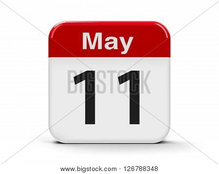 Calendar web button - The Eleventh of May three-dimensional rendering 3D illustration