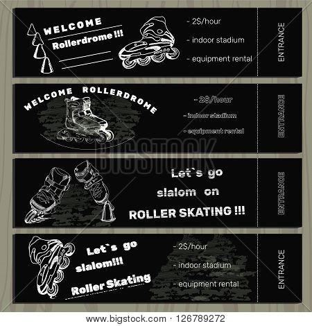 Vector illustration of set hand drawn tickets on Rollerdrom with Roller Skate on chalk board background.