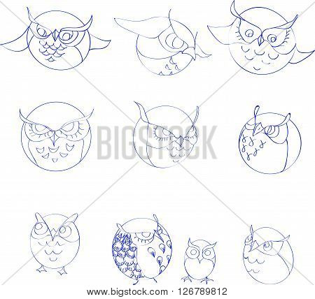 set of  ten circle outline cute owls
