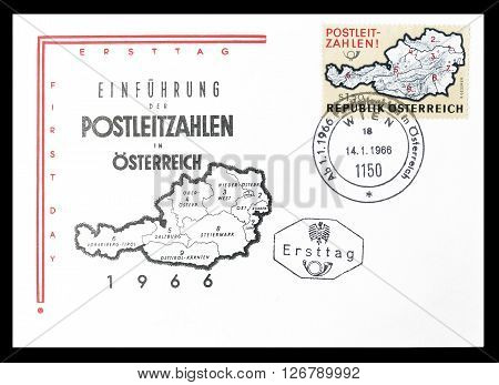 AUSTRIA- CIRCA 1966 : Cancelled First Day Cover letter printed by Austria, that shows Postcode introduction.