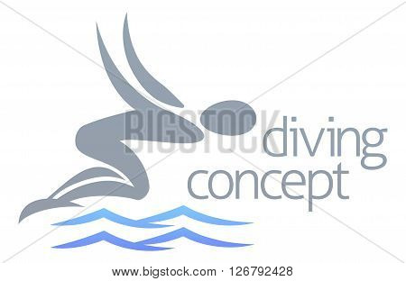 Swimmer Diving Concept