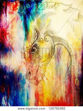 pencil drawing dragon and Color Abstract background