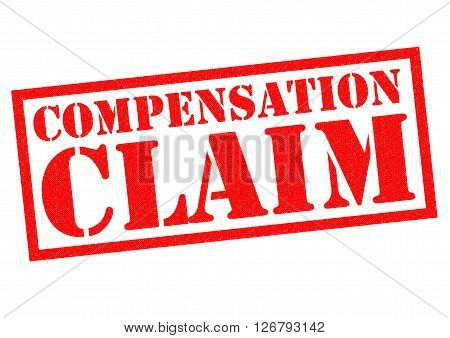 COMPENSATION CLAIM red Rubber Stamp over a white background.