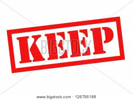 KEEP red Rubber Stamp over a white background.