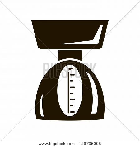 Mechanical kitchen scale. Black icon on white background