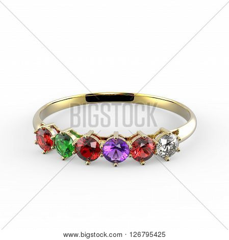 Ring with diamonds. Ring with wishes. 3d digitally rendered illustration
