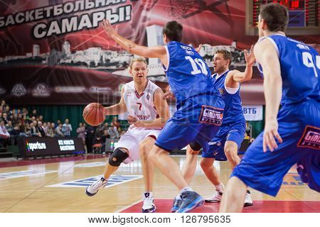 Bc Krasnye Krylia Guard Anton Ponkrashov (7) With Ball