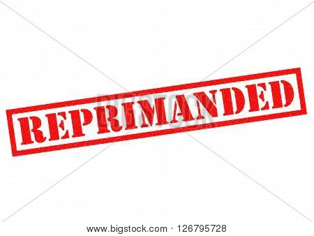 REPRIMANDED red Rubber Stamp over a white background.