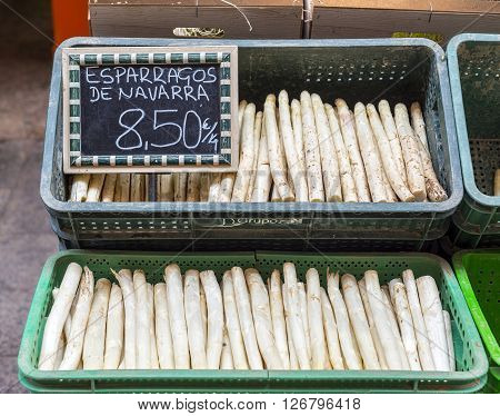 Ecological fresh white asparagus from Navarre Spain.