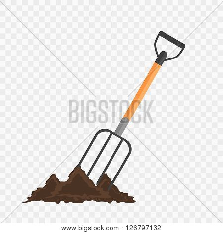 Pitchfork in the ground. Gardening tool on checked background. Isolated shovel in heap of soil