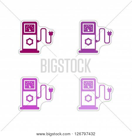 Set of paper stickers on white  background  eco refill