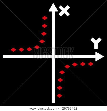 Dotted Hyperbola Plot vector toolbar icon. Style is bicolor flat icon symbol, red and white colors, black background, rhombus dots.