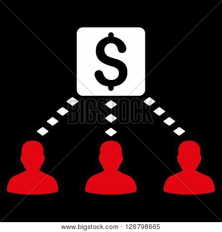 Money Recipients vector toolbar icon. Style is bicolor flat icon symbol, red and white colors, black background, rhombus dots.
