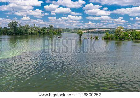 Ukrainian summer landscape with Dnepr river near Dnepropetrovsk city