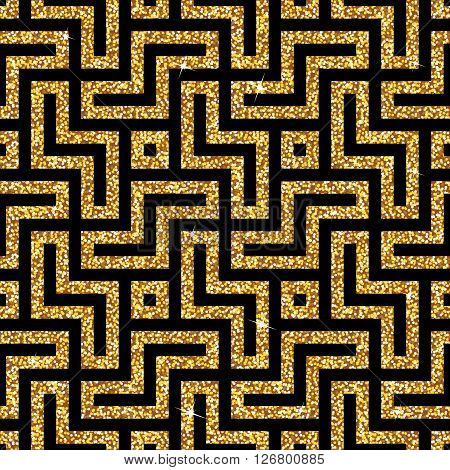 Seamless background from an oriental golden swastika ornament. Fashionable modern wallpaper or textile