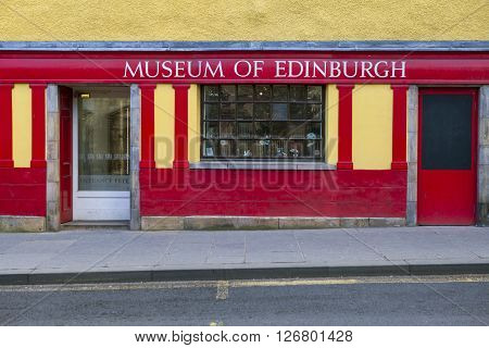 EDINBURGH SCOTLAND - MARCH 10TH 2016: The Museum of Edinburgh situated on Canongate along the Royal Mile in Edinburgh on 10th March 2016.