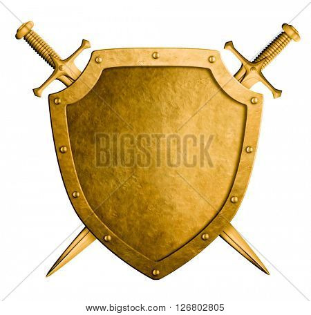 gold medieval knight shield and swords isolated 3D illustration
