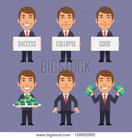 Vector Illustration, Holds Money, Success, Collapse, Holds Lot of Money, Format EPS 8