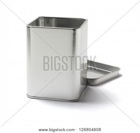 Open Metal Tin Can on White Background
