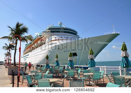 KEY WEST, FL, USA - DEC 20: Majesty of the Seas docked on December 20th, 2012 in Key West, Florida, USA.