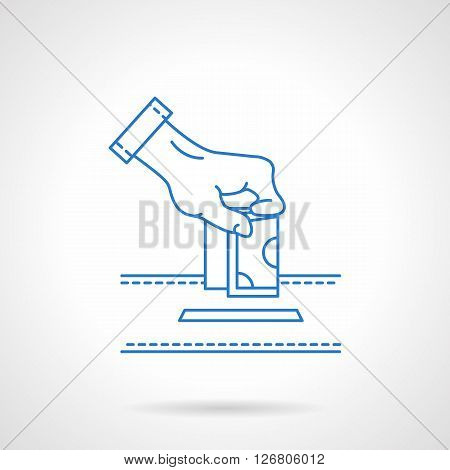 Hand putting money to donation box. Financial aid. Contributions to charity. Fight with corruption. Flat line style vector icon. Single design element for website, business.