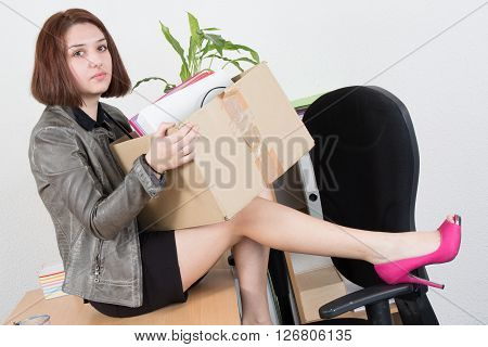 Profile View, Upset Businesswoman Carrying Office Belongings After Loosing Job