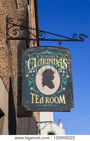 EDINBURGH SCOTLAND - MARCH 8TH 2016: The sign for Clarindas Tea Room in Edinburgh on 8th March 2016. The name derives from Clarinda who was a love interest of Robert Burns.