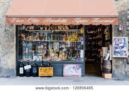 FLORENCE ITALY JANUARY 23: Wine bottles display in local Wine shop (Vinotheque) on 23 January 2016 in Florence Italy
