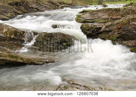 rapids on Ostravice river in Beskydy mountains, Czech Republic