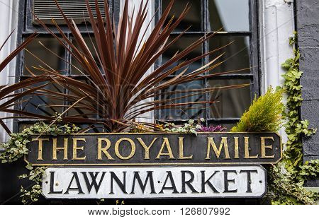 SCOTLAND, UK - MARCH 12TH 2016: A sign for Lawnmarket which is part of the historic Royal Mile in the City of Edinburgh Scotland, on 12th March 2016.
