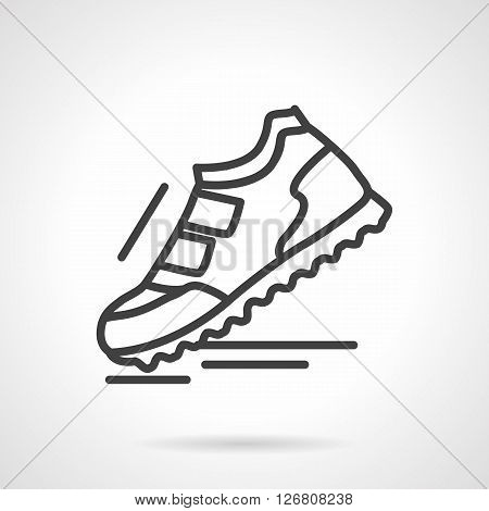 Single sports shoe with velcro fasteners. Comfortable footwear for workout, jogging and walks. Sport fashion. Simple black line vector icon. Element for web design, mobile app.