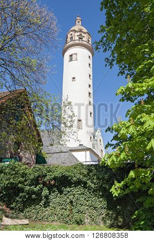 old medieval Hoechster Schlossturm in Frankfurt Hoechst, Germany