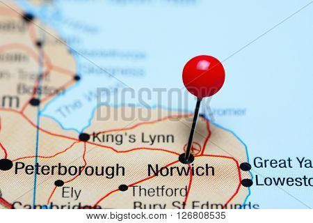 Norwich pinned on a map of UK