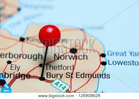 Bury St Edmunds pinned on a map of UK
