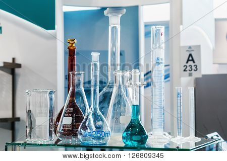 MOSCOW RUSSIA - April 12 2016: The 14th International Exhibition of laboratory equipment and chemical reagents in Moscow. Medical and laboratory equipment at the exhibition