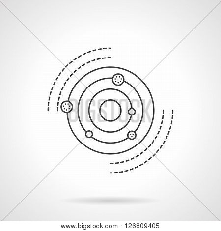Planets revolving in orbits around the Sun. Discovery of a solar system. Astronomy and physics research. Science and education. Flat line vector icon. Single design element for website, business.