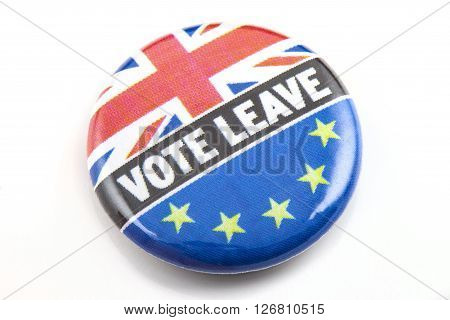 LONDON UK - MARCH 3RD 2016: A VOTE LEAVE pin badge over a white background on 3rd March 2016. The badge refers to the upcoming referendum regarding UK's membership in the European Union.